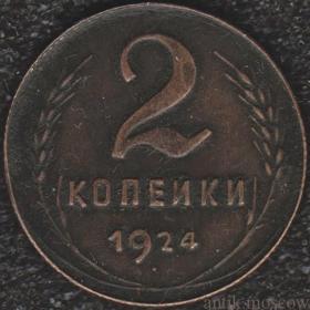 2 копейки 1924 года Гурт ребро